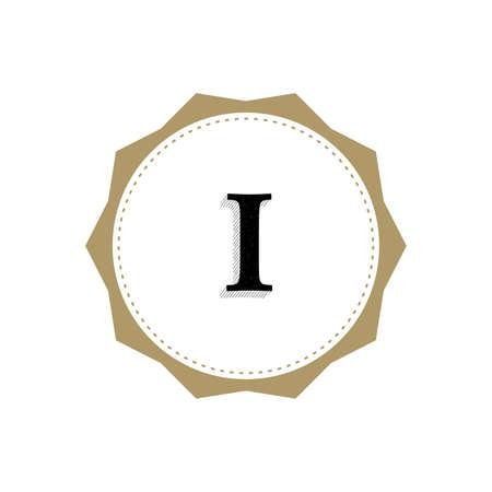 Letter I Monogram Illustration. Lettering Symbol I Logotype. Retro Vintage Elegant Style.