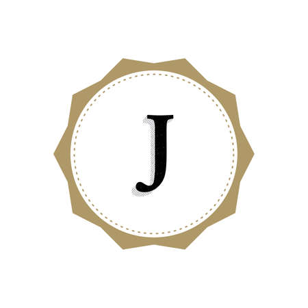 Letter J Monogram Illustration. Lettering Symbol J Logotype. Retro Vintage Elegant Style. Çizim
