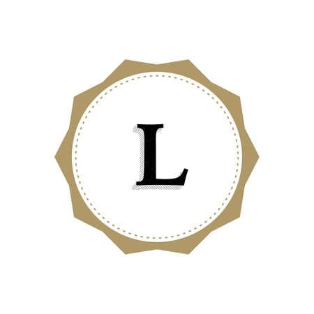 Letter L Monogram Illustration. Lettering Symbol L Logotype. Retro Vintage Elegant Style. Çizim