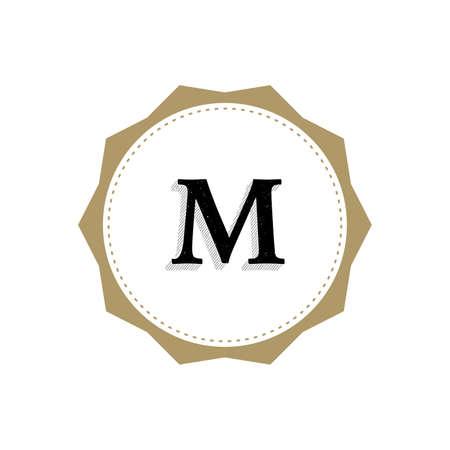Letter M Monogram Illustration. Lettering Symbol M Logotype. Retro Vintage Elegant Style.