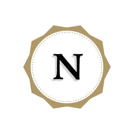 Letter N Monogram Illustration. Lettering Symbol N Logotype. Retro Vintage Elegant Style.