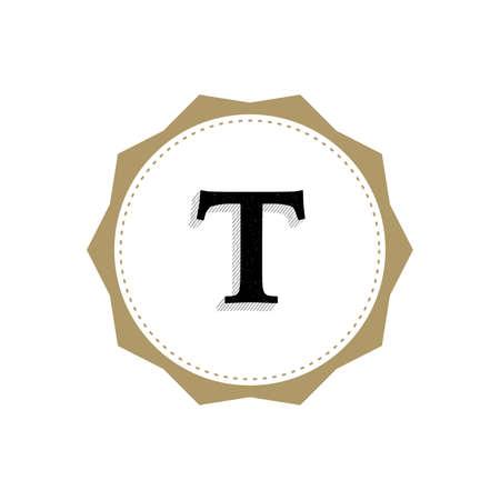 Letter T Monogram Illustration. Lettering Symbol T Logotype. Retro Vintage Elegant Style.