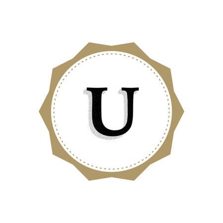 Letter U Monogram Illustration. Lettering Symbol U Logotype. Retro Vintage Elegant Style.