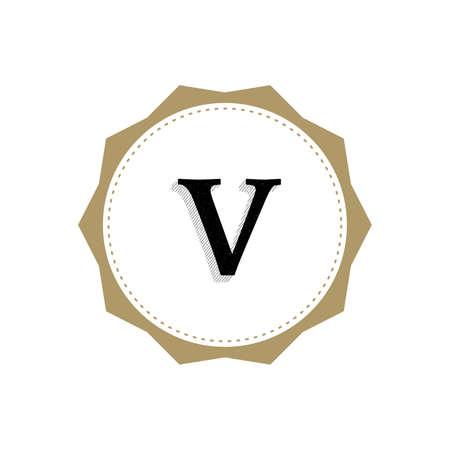 Letter V Monogram Illustration. Lettering Symbol V Logotype. Retro Vintage Elegant Style.