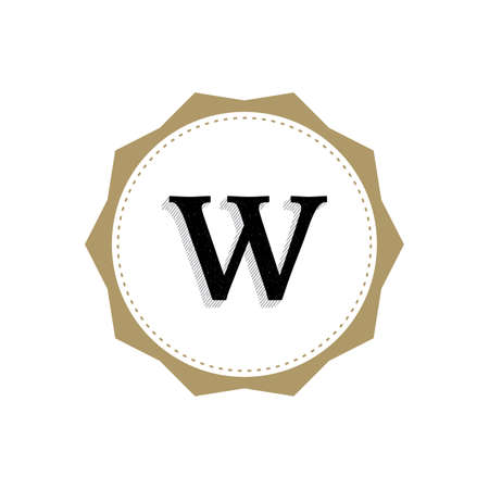 Letter W Monogram Illustration. Lettering Symbol W Logotype. Retro Vintage Elegant Style.