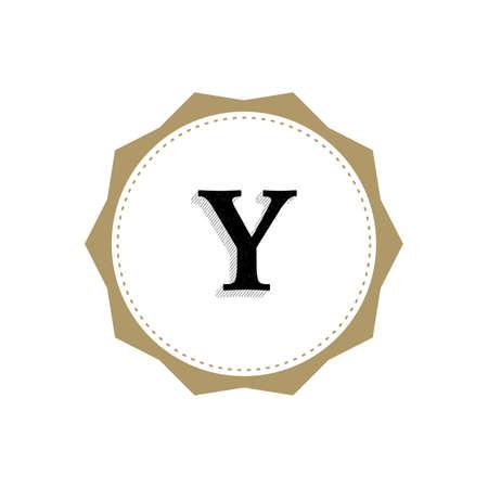 Letter Y Monogram Illustration. Lettering Symbol Y Logotype. Retro Vintage Elegant Style.