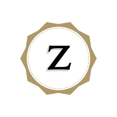 Letter Z Monogram Illustration. Lettering Symbol Z Logotype. Retro Vintage Elegant Style.