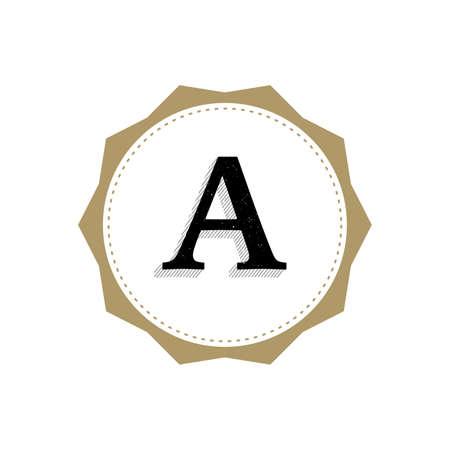Letter A Monogram Illustration. Lettering Symbol A Logotype. Retro Vintage Elegant Style.