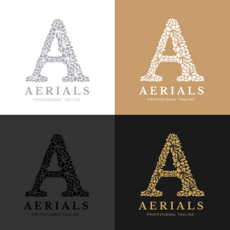 Letter A - Floral Logo Template. Leaves and Flowers Florist Brand Logotype. Çizim