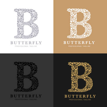 Letter B - Floral Logo Template. Leaves and Flowers Florist Brand Logotype.