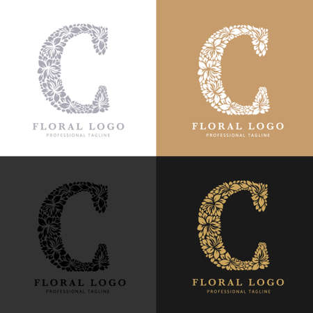 Letter C - Floral Logo Template. Leaves and Flowers Florist Brand Logotype. Çizim