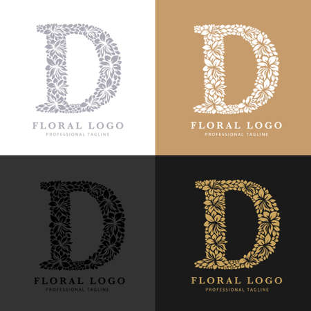 Letter D - Floral Logo Template. Leaves and Flowers Florist Brand Logotype. Çizim