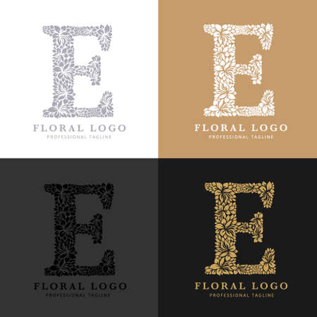 Letter E - Floral Logo Template. Leaves and Flowers Florist Brand Logotype.