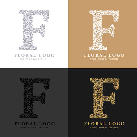 Letter F - Floral Logo Template. Leaves and Flowers Florist Brand Logotype.