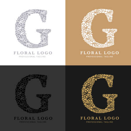Letter G - Floral Logo Template. Leaves and Flowers Florist Brand Logotype.