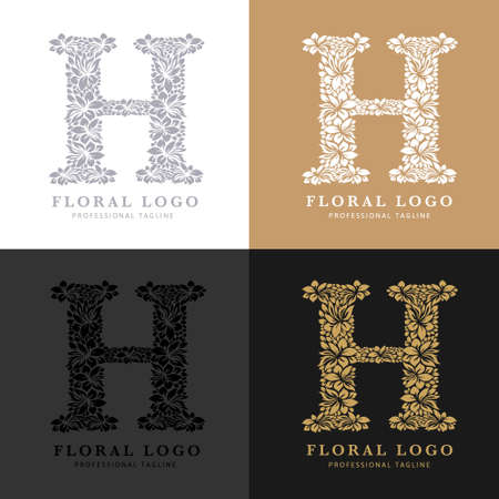Letter H - Floral Logo Template. Leaves and Flowers Florist Brand Logotype.