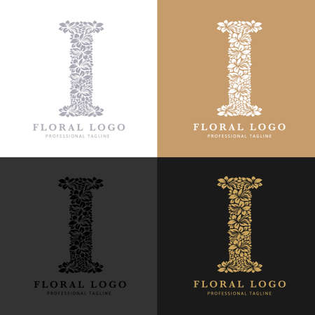 Letter I - Floral Logo Template. Leaves and Flowers Florist Brand Logotype. Çizim