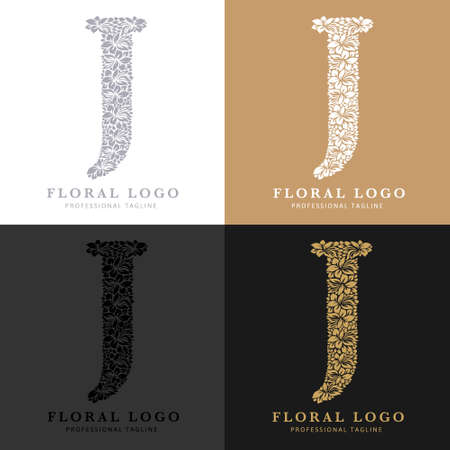 Letter J - Floral Logo Template. Leaves and Flowers Florist Brand Logotype.