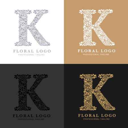 Letter K - Floral Logo Template. Leaves and Flowers Florist Brand Logotype.
