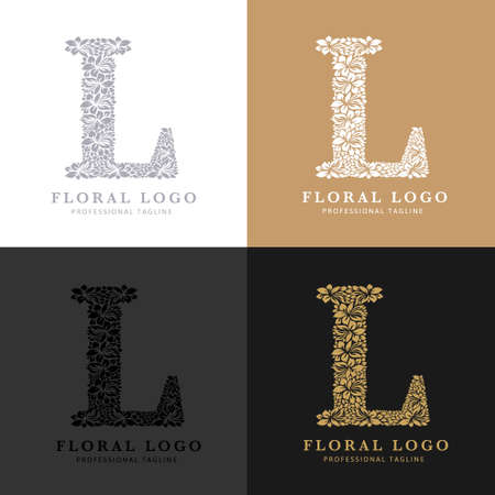 Letter L - Floral Logo Template. Leaves and Flowers Florist Brand Logotype.