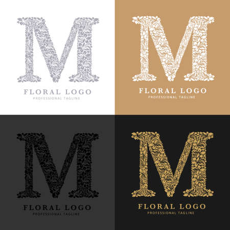 Letter M - Floral Logo Template. Leaves and Flowers Florist Brand Logotype.