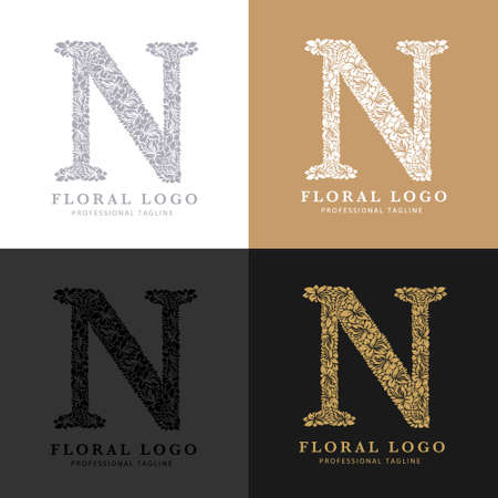 Letter N - Floral Logo Template. Leaves and Flowers Florist Brand Logotype.