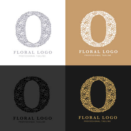 Letter O - Floral Logo Template. Leaves and Flowers Florist Brand Logotype.