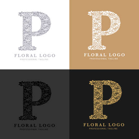 Letter P - Floral Logo Template. Leaves and Flowers Florist Brand Logotype. Çizim