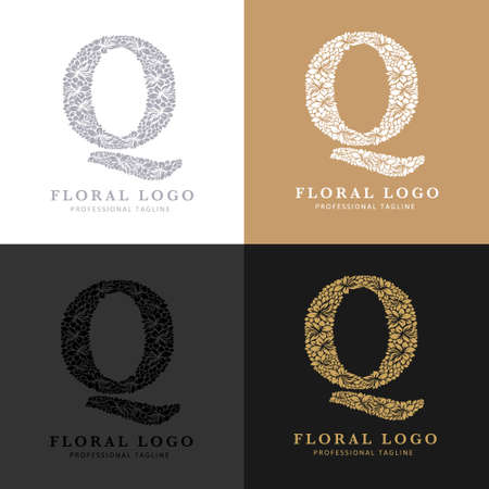 Letter Q - Floral Logo Template. Leaves and Flowers Florist Brand Logotype.