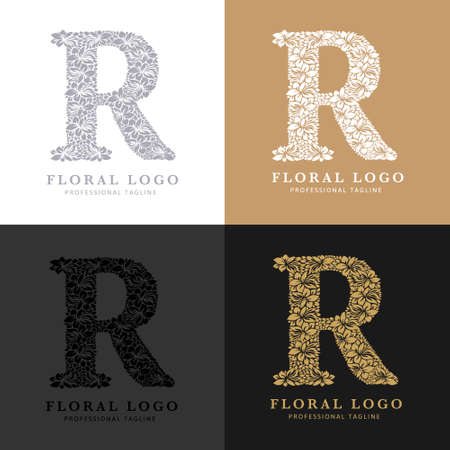 Letter R - Floral Logo Template. Leaves and Flowers Florist Brand Logotype.