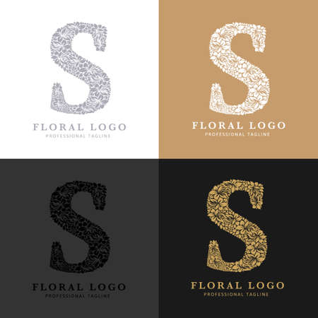 Letter S - Floral Logo Template. Leaves and Flowers Florist Brand Logotype.