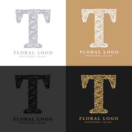 Letter T - Floral Logo Template. Leaves and Flowers Florist Brand Logotype. Çizim