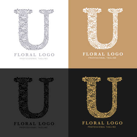 Letter U - Floral Logo Template. Leaves and Flowers Florist Brand Logotype.