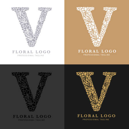 Letter V - Floral Logo Template. Leaves and Flowers Florist Brand Logotype.