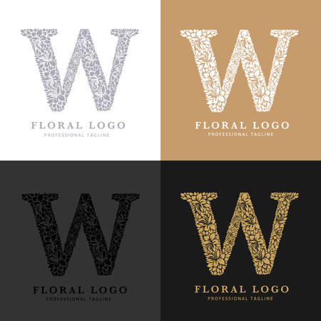 Letter W - Floral Logo Template. Leaves and Flowers Florist Brand Logotype.