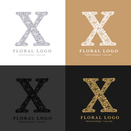 Letter X - Floral Logo Template. Leaves and Flowers Florist Brand Logotype.