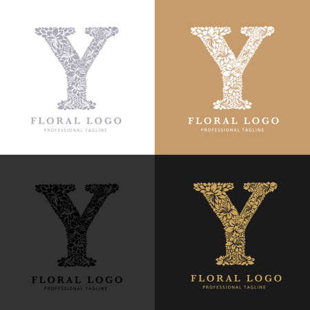 Letter Y - Floral Logo Template. Leaves and Flowers Florist Brand Logotype.
