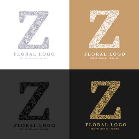 Letter Z - Floral Logo Template. Leaves and Flowers Florist Brand Logotype.