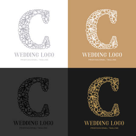 Wedding letter C - Cutted paper logo template. Look great for wedding lace.