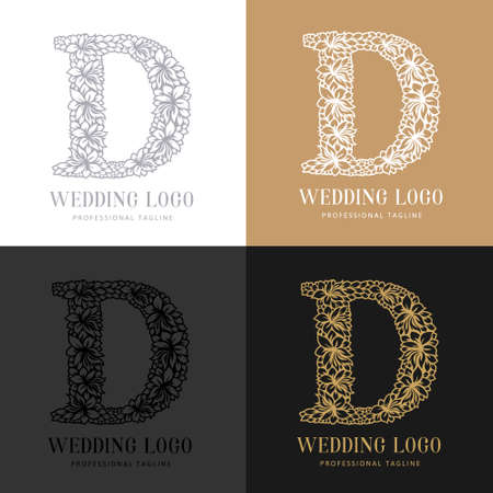 Wedding letter D - Cutted paper logo template. Look great for wedding lace.