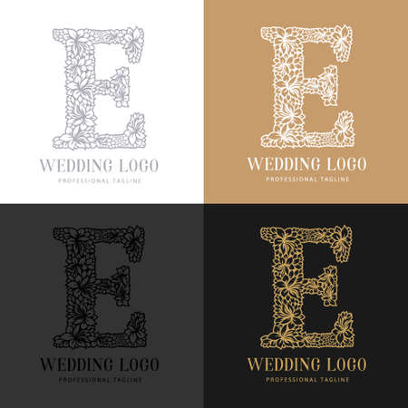 Wedding letter E - Cutted paper logo template. Look great for wedding lace.