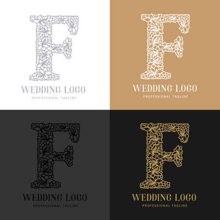 Wedding letter F - Cutted paper logo template. Look great for wedding lace. Çizim