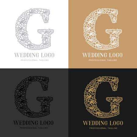 Wedding letter G - Cutted paper logo template. Look great for wedding lace.