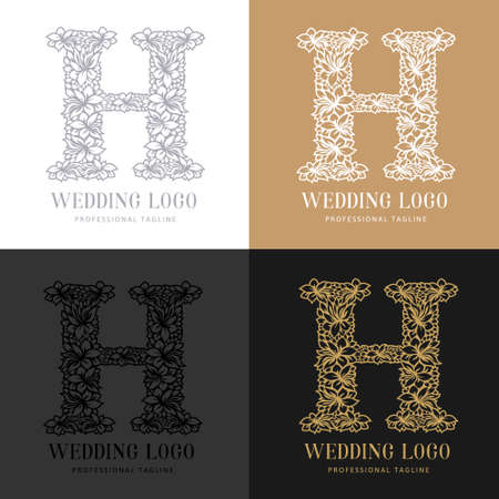 Wedding letter H - Cutted paper logo template. Look great for wedding lace.