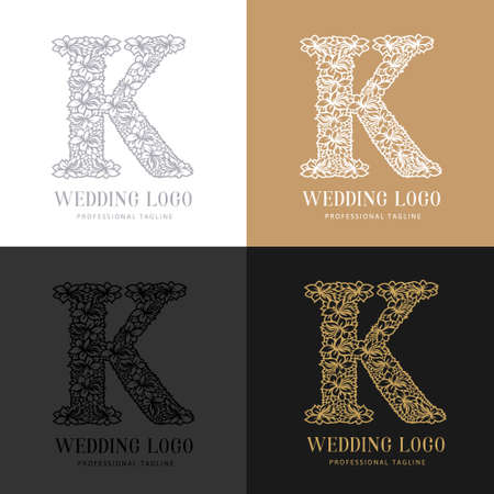 Wedding letter K - Cutted paper logo template. Look great for wedding lace.