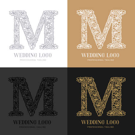 Wedding letter M - Cutted paper logo template. Look great for wedding lace. Çizim