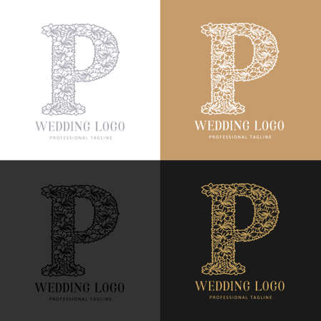 Wedding letter P - Cutted paper logo template. Look great for wedding lace.