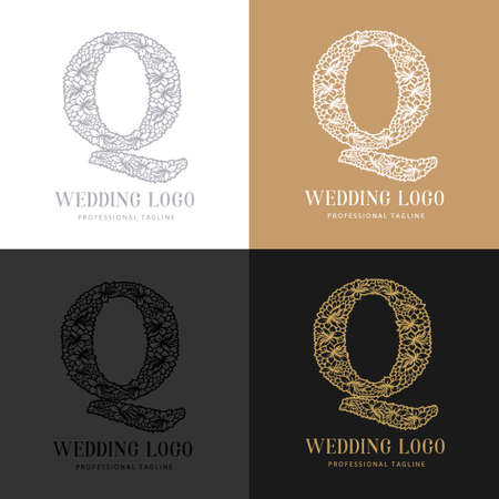 Wedding letter Q - Cutted paper logo template. Look great for wedding lace. Çizim