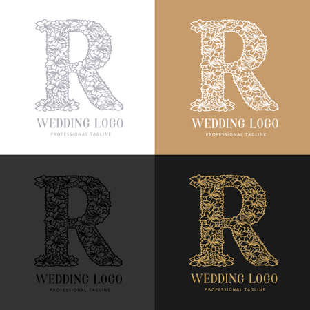 Wedding letter R - Cutted paper logo template. Look great for wedding lace.