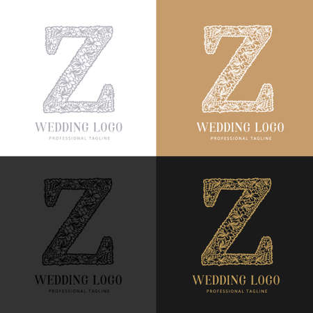 Wedding letter Z - Cutted paper logo template. Look great for wedding lace. Çizim